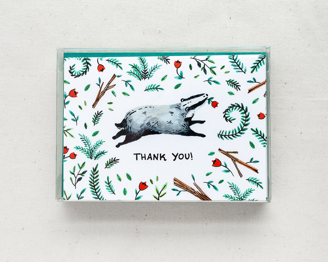 boxed set of six thank you cards with a happy badger and woodland illustrations
