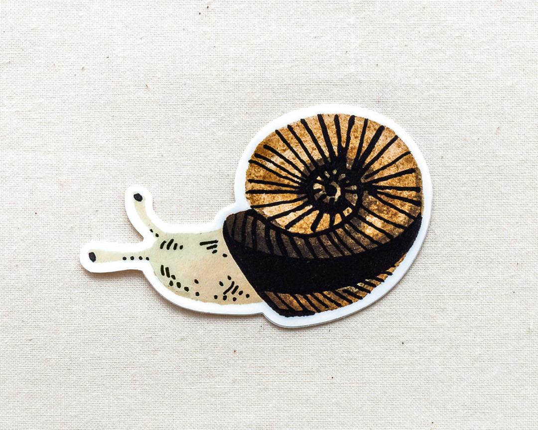 cute garden snail vinyl animal sticker by wildship studio
