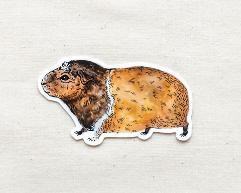 cute guinea pig vinyl animal sticker by wildship studio