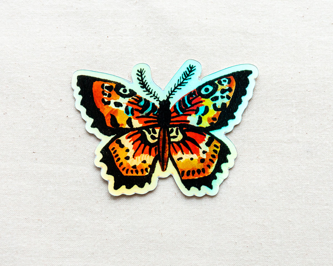 cute holographic butterfly vinyl animal sticker by wildship studio