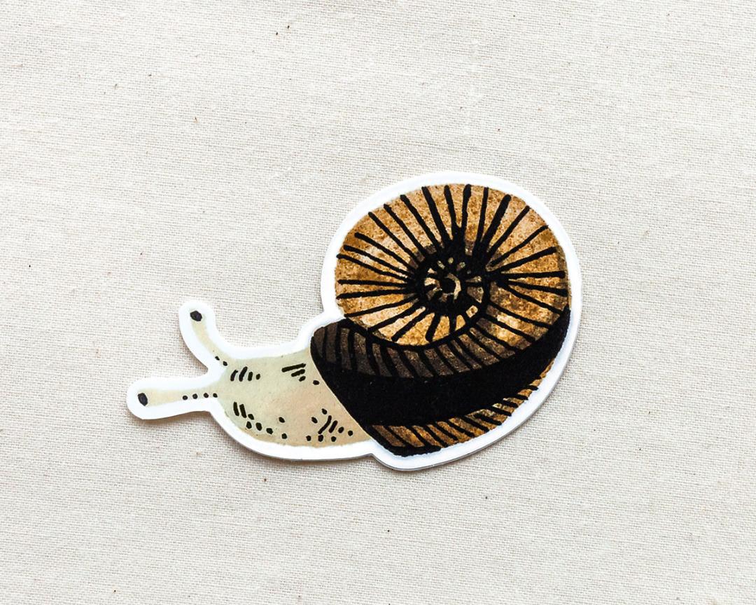 cute snail vinyl animal sticker by wildship studio