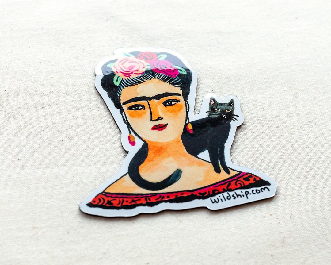 glossy frida kahlo magnet by wildship studio