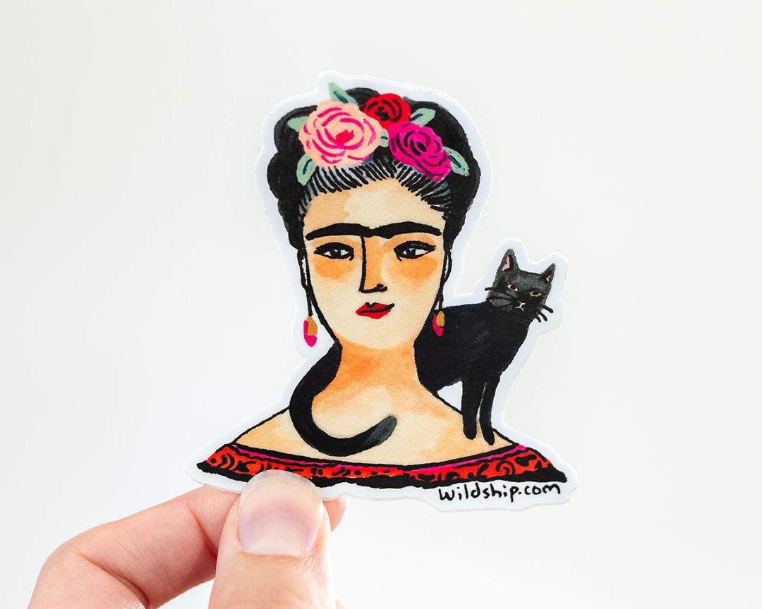 hand holding frida kahlo sticker by wildship studio