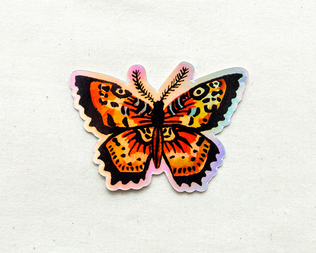 rainbow holographic butterfly vinyl animal sticker by wildship studio