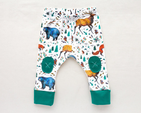 Organic Baby Leggings with bears elk foxes by Wildship Studio