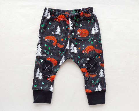 Organic Baby Leggings with trees and foxes by Wildship Studio