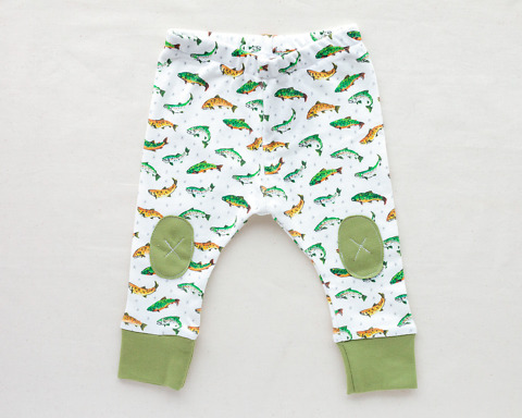 Organic Baby Leggings with trout fish by Wildship Studio