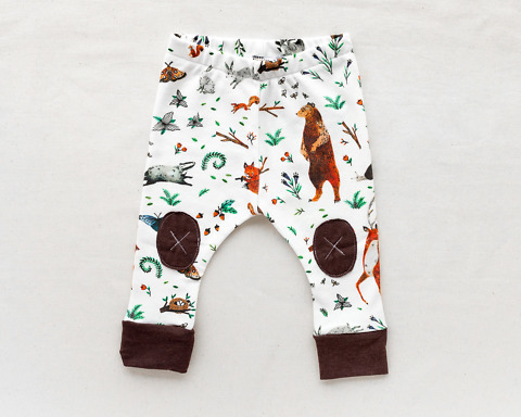 Organic Baby Leggings with woodland animals by Wildship Studio