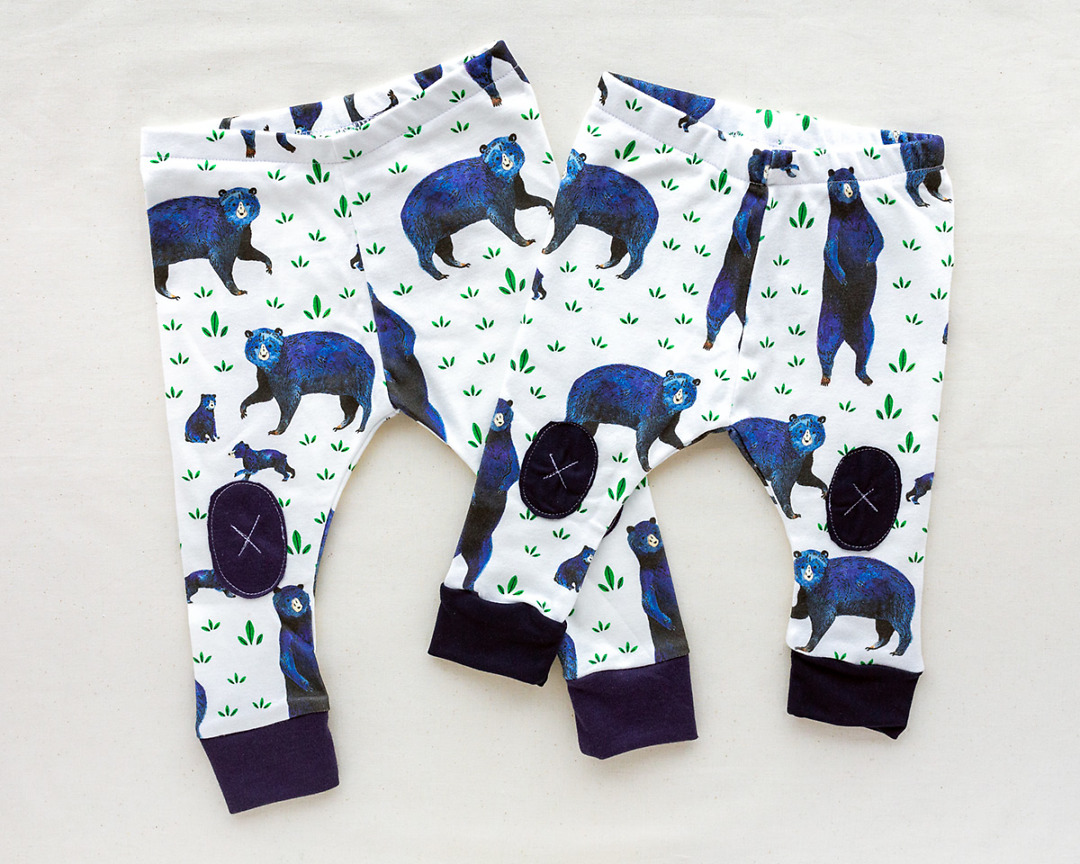 pair of Organic Baby Leggings with blue bears by Wildship Studio