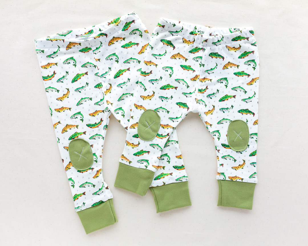 pair of Organic Baby Leggings with trout fish by Wildship Studio