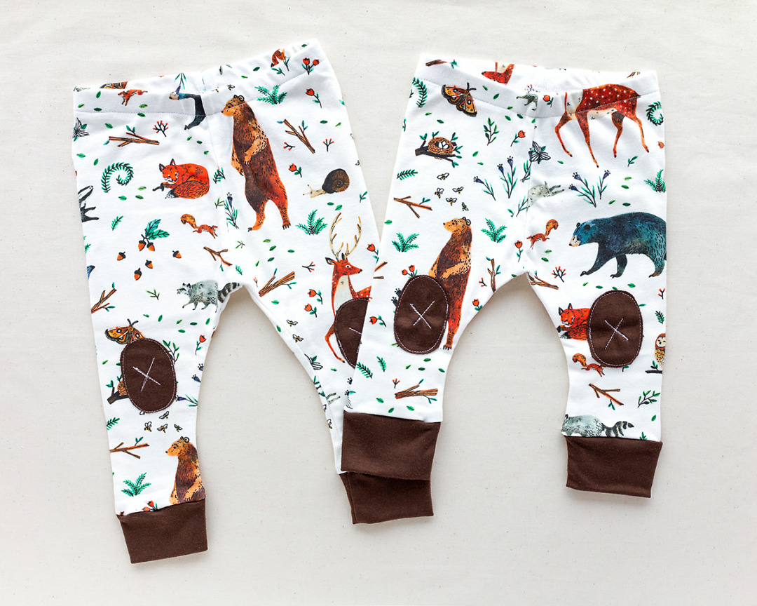 two pairs of Organic Baby Leggings with woodland animals by Wildship Studio