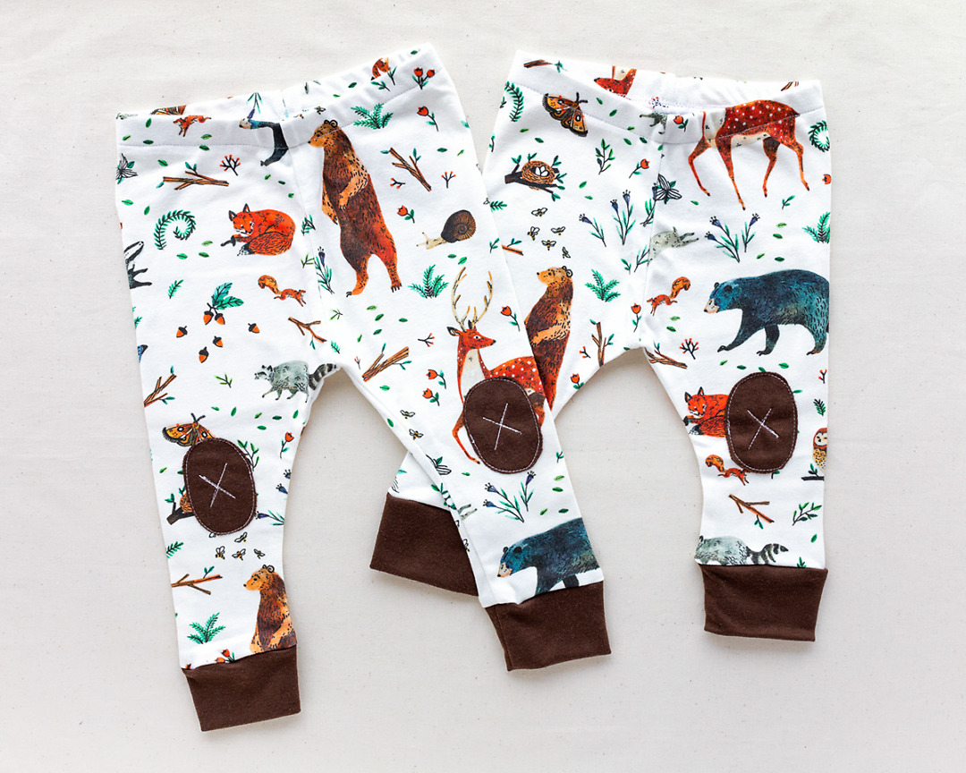 two pairs of Woodland Animals Organic Baby Leggings by Wildship Studio