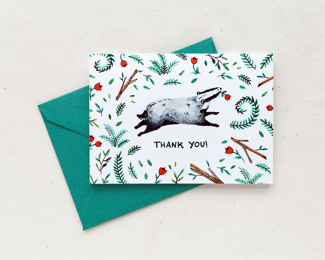 watercolor thank you card with a cute badger and woodland illustrations